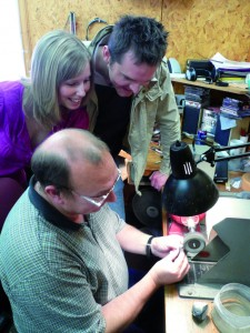 Sheila Fleet Workshop Tour. Couple watching their rings being made